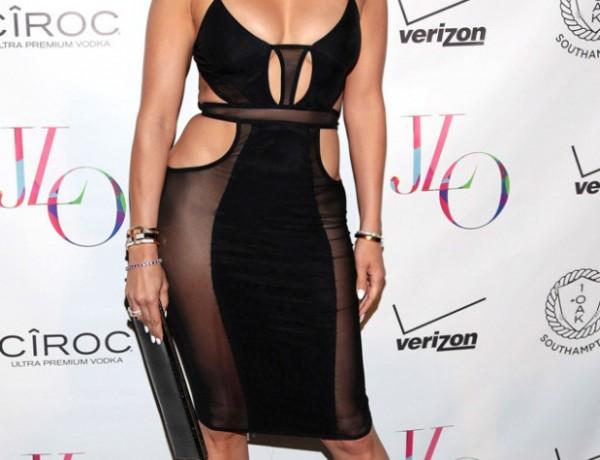 jlo cut out mesh dress